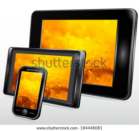 Set of Mobile Electronic Technics with a fantastic background on the screen. Vector