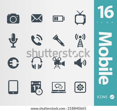 Set of mobile icons - stock vector
