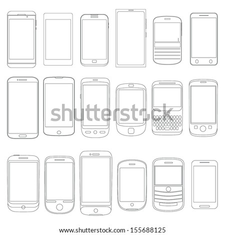 Set of Mobile Phone Outlines as Vectors - stock vector