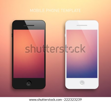 Set of mobile smartphones template with blurred unfocused background, elegant, realistic, technology, communication. Clean and modern style design - stock vector