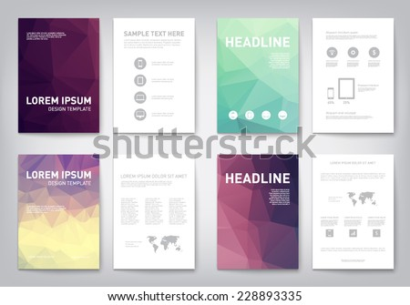 Set of modern abstract brochure, flyer, report design, layout template. Clean style cover, cummunication, business. corporate - stock vector