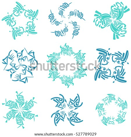 Set of modern and floral vector elements for cards and stickers