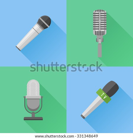 Set of modern and retro microphones. Flat style vector icons. - stock vector