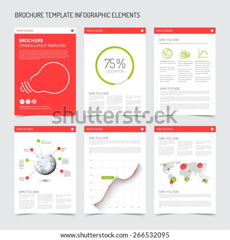 Set of modern brochure flyer design templates with graphs, charts and other infographic elements - green and red version - stock vector