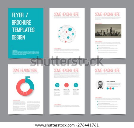 Set of modern brochure flyer design templates with graphs, charts and other infographic elements - red  and blue version - stock vector