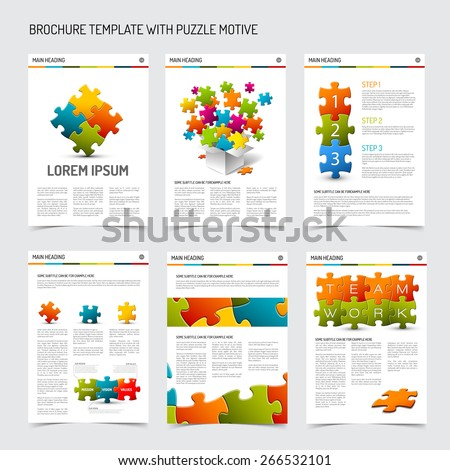 Set of modern brochure flyer design templates with puzzle elements - stock vector