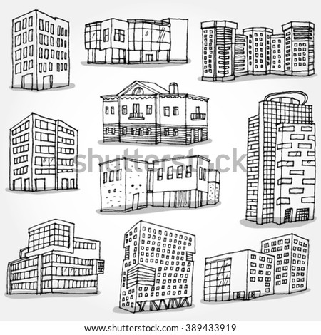 Set of Modern Buildings Hand Drawn