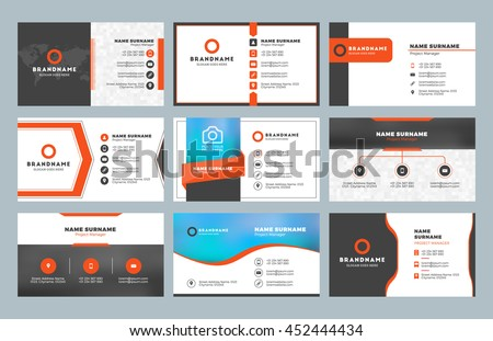 Set 9 modern business card templates stock vector hd royalty free set of 9 modern business card templates business cards with company logo clean flat cheaphphosting Image collections