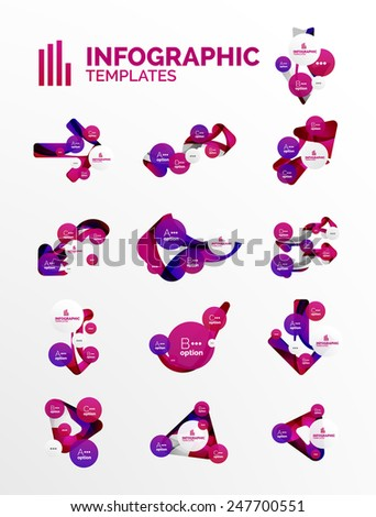 Set of modern business infographics. Shiny abstract geometric forms - stock vector