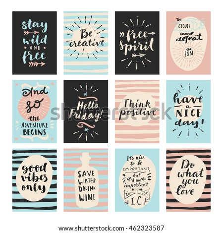 Set modern calligraphic posters inspirational quotes stock vector set of modern calligraphic posters inspirational quotes and good wishes free spirit hello voltagebd Choice Image