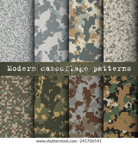 Set of 8 modern camouflage patterns vector - stock vector