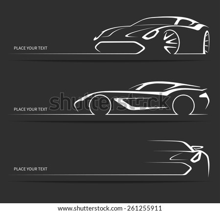 Sports car silhouette vector 2