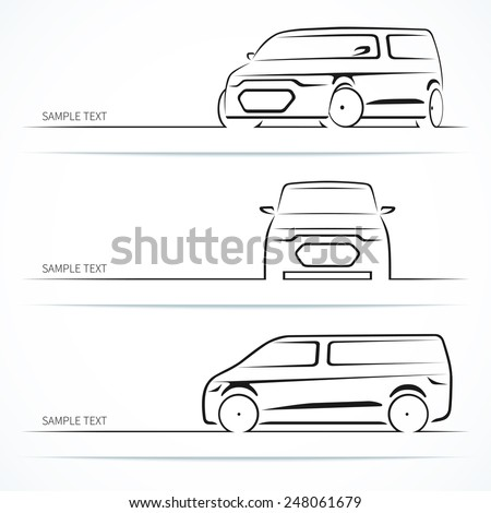 Set of modern car silhouettes. Minivan in three angles. Vector illustration - stock vector