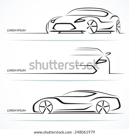 Set of modern car silhouettes. Sports car in three angles. Vector illustration - stock vector