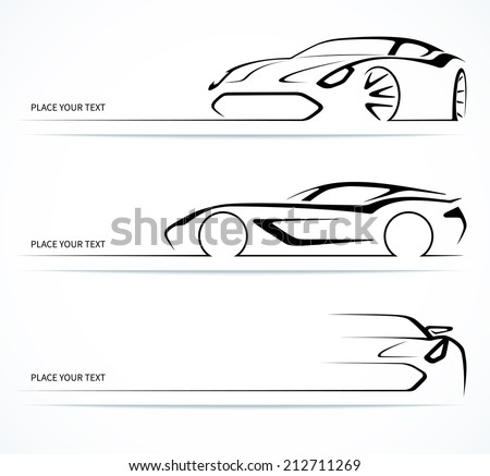 Set of modern car silhouettes. Vector illustration - stock vector