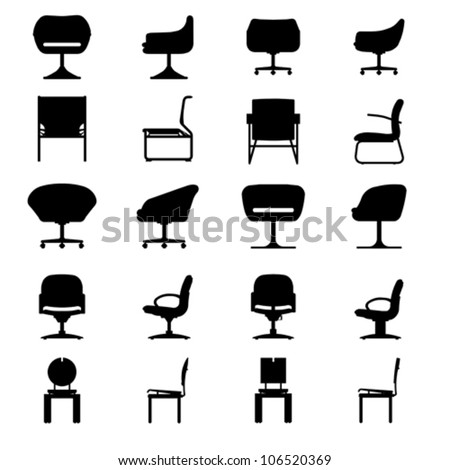Set of Modern chair, vector - stock vector
