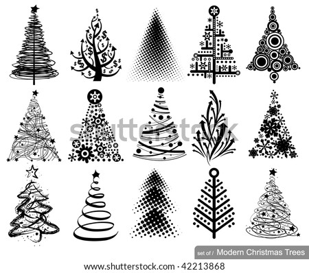 Set of Modern Christmas Trees. 15 designs in one file. - stock vector