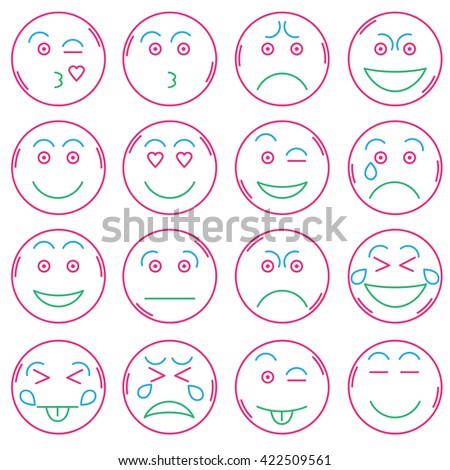 Set of modern color line icons. Set of Emoji. Smile icons. Isolated vector illustration. Stock vector
