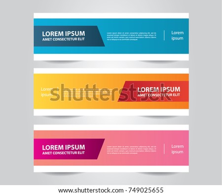 Set of Modern Colorful banner template.Horizontal advertising banner.