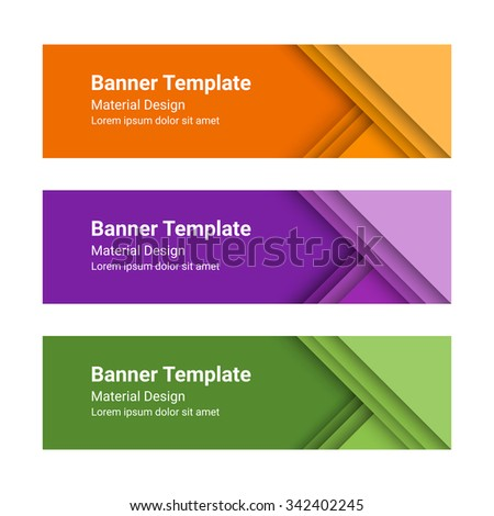 Set of modern colorful horizontal vector banners in a material design style. Can be used as a business template or in a web design. Vector illustration. - stock vector