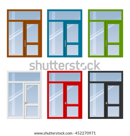 Set of modern colorful windows and doors to the balcony or terrace in different colors. Vector graphics