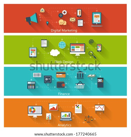 Set of modern concepts in flat design with long shadows and trendy colors for web, mobile applications, digital marketing, finance, social networks, analytics etc. Vector eps10 illustration - stock vector