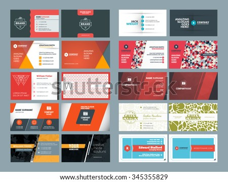 Set of Modern Creative and Clean Business Card Design Print Templates. Flat Style Vector Illustration - stock vector