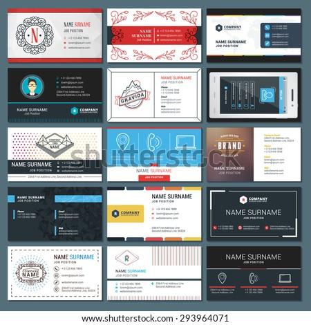 Set of Modern Creative Business Card Templates - stock vector