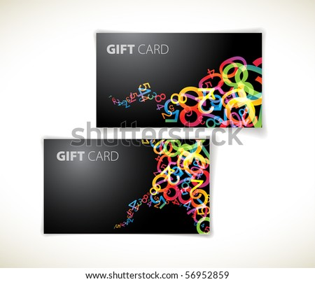 Set of modern dark gift card templates - stock vector