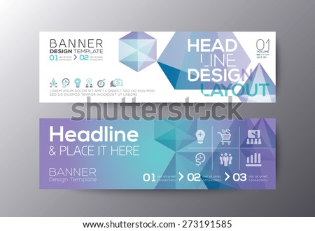 Set of modern design web banners template with abstract polygon background vector - stock vector