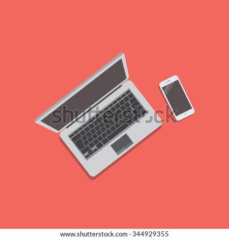 Set of Modern Digital devices. Vector EPS10 - stock vector