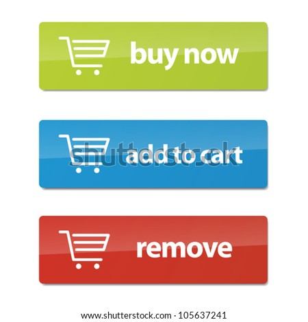 Set of modern e-commerce buttons and icons. - stock vector