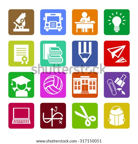 Set of modern flat design concept icons for web or mobile app. Vector elements. Flat icons collection. Set 2.