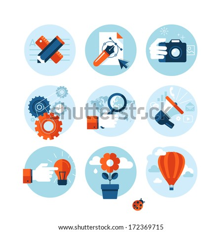 Set of modern flat design concept icons on marketing theme. Icons for internet marketing, design development, photography, market research, social network, planning, ideas brainstorming, creativity.  - stock vector