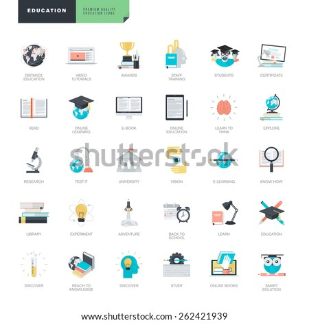 Set of modern flat design education icons for graphic and web designers    - stock vector