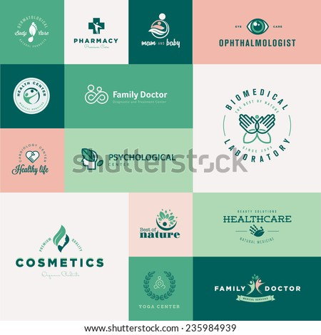 Set of modern flat design healthcare icons - stock vector