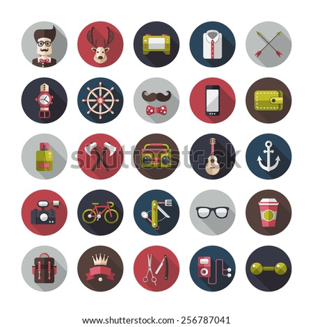 Set of modern flat design hipster vector icons - stock vector