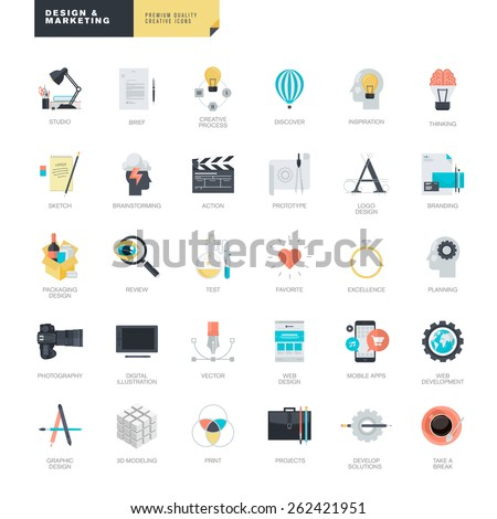 Set of modern flat design icons for graphic and web designers    - stock vector