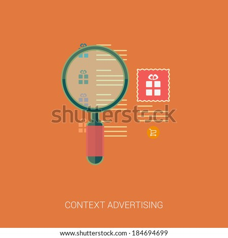 Set of modern flat design icons for search engine or context advertising. Magnifying glass over the list of searches and context ad with word and image.  - stock vector
