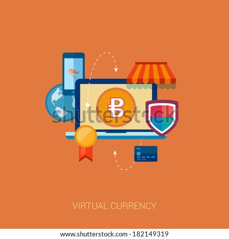 Set of modern flat design icons of emerging virtual currency and online finances. Flat design bitcoin concept icons for web and mobile phone services and apps. Online commerce vector illustration. - stock vector