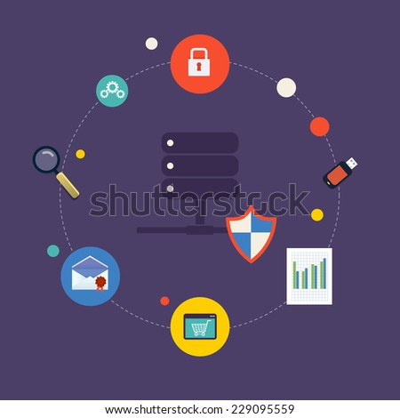 Set of modern flat design icons on the topic of online security, Data protection and data safety. Icon database system with icons - stock vector