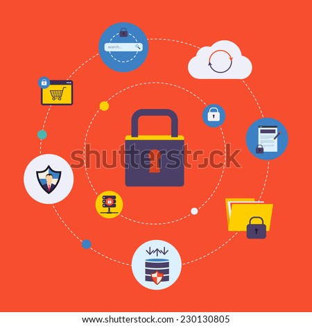 Set of modern flat design icons on the topic of online security, data protection and data safety. Icon lock with icons - stock vector