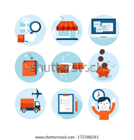 Set of modern flat design icons on the topic of online shopping and delivery service. Icons for web and mobile services and apps. Isolated on white background.     - stock vector
