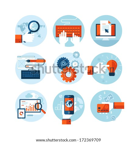 Set of modern flat design icons on the topic of web design development, web page programming, website SEO optimization, smartphone app development, web analytic, online banking and shopping app. - stock vector