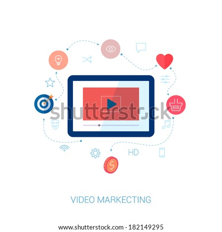 Set of modern flat design icons on the topic of web video marketing and social video presentation.  - stock vector