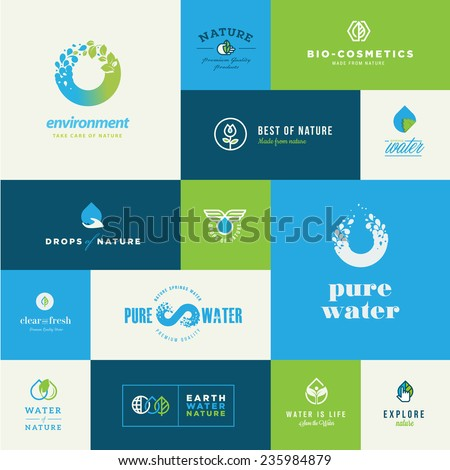 Set of modern flat design nature icons - stock vector