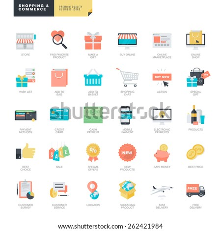 Set modern flat design online shopping stock vector 262421984 set of modern flat design online shopping and e commerce icons for graphic and web altavistaventures Images