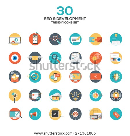 Set of modern flat design SEO and development icons.Creative concepts and design elements for mobile and web applications. Vector - stock vector