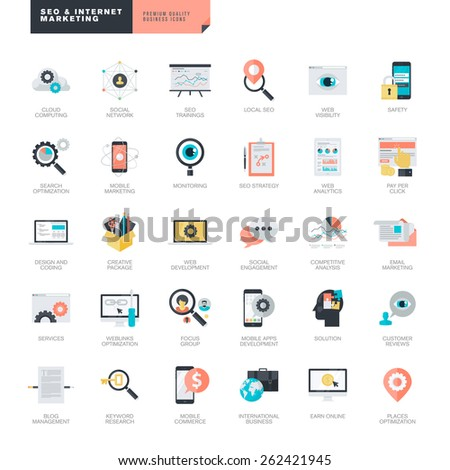 Set of modern flat design SEO and internet marketing icons for graphic and web designers    - stock vector