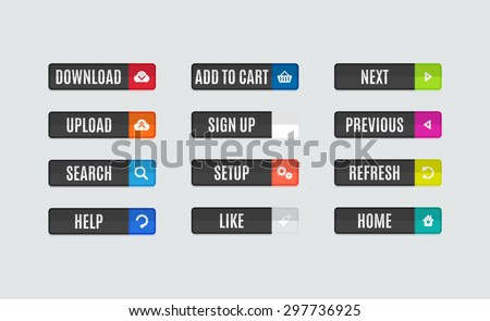 Set of modern flat design website navigation buttons. Rectangle shape. Help like search download upload setup sign up add to cart next previous refresh home icons - stock vector